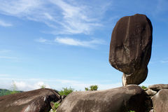 Big balancing rock under blue sky at Thailand Royalty Free Stock Photo