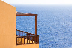 Big balcony with beautiful sea view in Greece Stock Photo