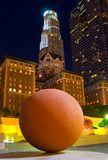 Big ball in the center of downtown Las Angeles. At night Royalty Free Stock Photos