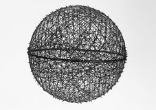 Big ball of tangles suspended in white background Royalty Free Stock Photo