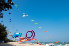 Big balloon Whale kite shows itself at Cha-am beach for Thailand international kite festival 2017 Royalty Free Stock Photography
