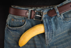 Big Banana and men's jeans, like the penis Royalty Free Stock Image