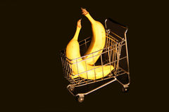 Big Bananas. Two 50 pound bananas in a grocery cart royalty free stock photography