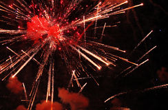 The Big Bang. An explosion of fireworks in the sky during a fireworks display royalty free stock photo