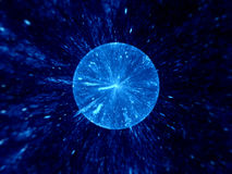 Big bang. Blue abstract fractal computer generated background royalty free stock photo