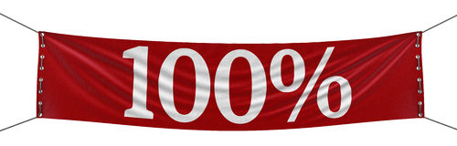 Big 100% Banner (clipping path included) Stock Photography