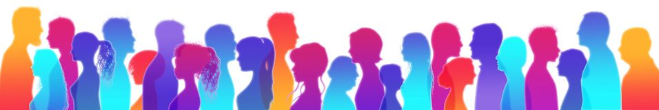 Dialogue between people. Talking crowd. Colored isolated silhouette profiles. People talking. Communication. People of different c stock illustration