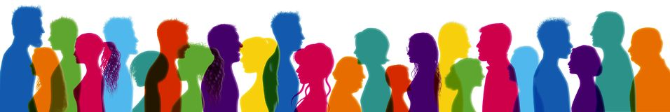 Dialogue between people. Talking crowd. Colored isolated silhouette profiles. People talking. People of different cultures. Commun stock illustration