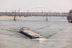 Big Barge Navigates Danub River Stock Photo