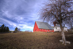 Big barn by field. Stock Images