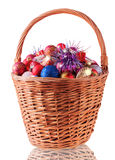 Big Basket with Christmas Baubles Stock Photos