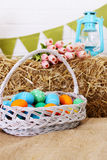 Big basket with eggs Royalty Free Stock Photography