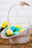 Big basket with eggs Stock Image