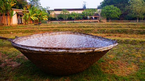 Big basket. The big basket is on the land in cornfield and paddy royalty free stock photo