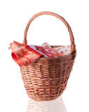 Big Basket with the Linen Stock Photo