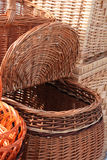 Basket of wicker. Big basket of wicker with another baskets Stock Image