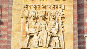 Big basrelief on a modern building, detail Stock Photos