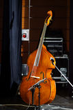 Big bass viol on the scene before the concert. Music instruments Royalty Free Stock Images