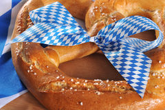 Big Bavarian Oktoberfest soft pretzel stock images