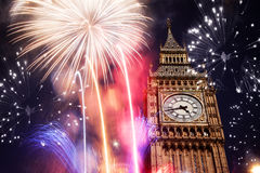 Big Be with fireworks. New Year's Eve Stock Photos
