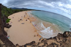 Big Beach, stormy sky, Fisheye Royalty Free Stock Photo