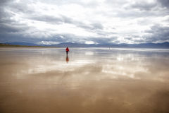 Big beach with woman walking Royalty Free Stock Photo
