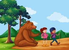 Big Bear che si siedono sulla terra e la gente vanno fare un'escursione Fotografia Stock Libera da Diritti