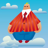 Big bear on clouds. Surrealistic figure of a flying fat man can use as a cover or picture Stock Illustration