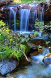 Big Bear Creek Little Waterfall. Little waterfall over log on Big Bear Creek in summer in northern California Stock Image