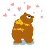 Big bear cuddle duck cartoon character. Big bear cuddle duck with love cartoon illustration vector illustration