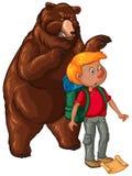 Big Bear et randonneur terrifié illustration de vecteur