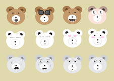 Big bear face set Royalty Free Stock Image