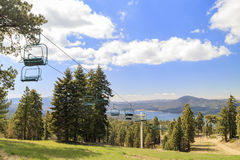 Big bear lake with cable car. Morning view of Big bear lake with cable car, Los Angeles County, California stock images
