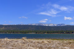 Big Bear Lake. Is a small city in San Bernardino County, California, located in the San Bernardino Mountains along the south shore of , and surrounded by the royalty free stock image