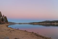 Big bear lake. At sunset time Stock Photo