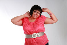 Big and Beautiful. Plus size black model with tattoo smiling stock photo