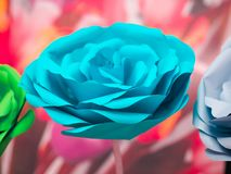 Big beautiful blue rose made of paper. royalty free stock images