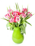Big beautiful bouquet of red tulips Stock Photo