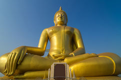 The Big beautiful Buddha at Wat Muang Temple with blue sky, Angt Royalty Free Stock Photos