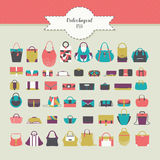 Big beautiful bundle with flat women bags in different design - handbag, clutch, purse, rucksack and many more. Vector fashion ill Royalty Free Stock Photography