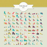 Big beautiful bundle with flat women shoes in different design - flats, heels, platform, wedge and many more. Vector fashion illus Royalty Free Stock Photography