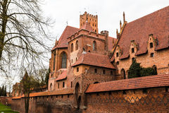 Big beautiful castle made of red brick Royalty Free Stock Images