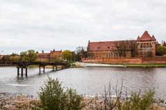 Big beautiful castle made of red brick Stock Photography