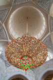 Big and Beautiful chandelier. Chandelier in White Mosque Sheikh Zayed in Abu Dhabi Royalty Free Stock Images