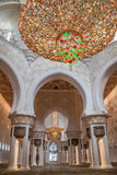 Big and Beautiful chandelier. Chandelier in White Mosque Sheikh Zayed in Abu Dhabi Stock Photos