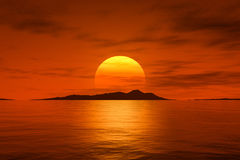 Big beautiful fantasy sunset over the ocean Royalty Free Stock Image