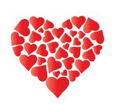 Big beautiful heart made of hearts. Big beautiful heart made of hearts on white background. Pattern for decoration or congratulations for a wedding or Stock Image