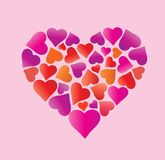 Big beautiful heart made of hearts. Pattern for decoration or congratulations for a wedding or Valentines day. Greeting card. Wallpaper, flyers, invitation Royalty Free Stock Photography