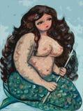 Big beautiful mermaid. Illustration Stock Images