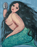 Big beautiful mermaid and mirror. Big beautiful mermaid  illustration Stock Photography